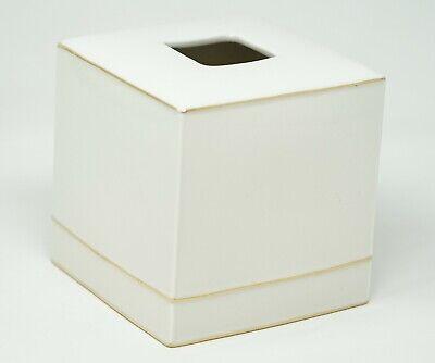 Kassatex St. Honore Fine Porcelain Gold Tone Tissue Holder - White