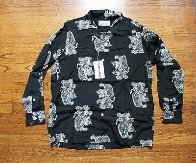 WACKO MARIA Tim Lehi Hawaiian Long Sleeve Shirt Size M White + Black Tiger 2019