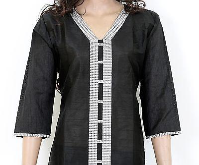 Ethnic Indian Black Embroidered Semi Raw Silk Kurti Top Kurta Embrodery 902875 (Raw Silk Kurta)
