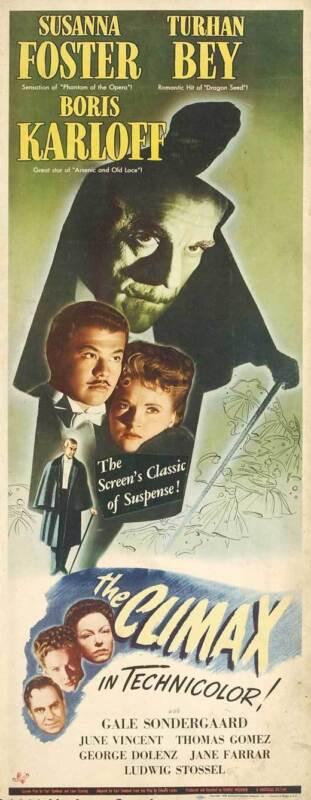 THE CLIMAX Movie POSTER 14x36 Insert Boris Karloff Susanna Foster Turhan Bey