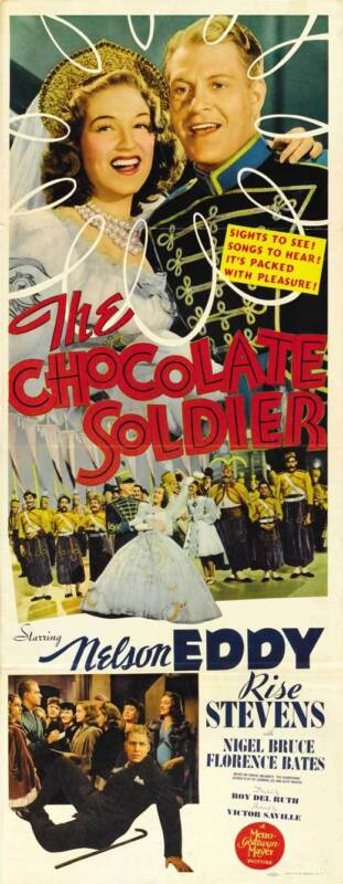 THE CHOCOLATE SOLDIER Movie POSTER 14x36 Insert Nelson Eddy Rise Stevens Nigel