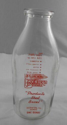 Vtg Berwyn Dairy Milk Bottle ILL IL Red Pyro QT ACL