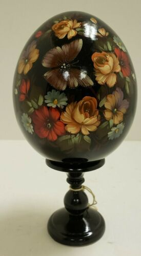 G. DeBrekht Russian Wood Egg with Butterflies and Flowers on Pedestal