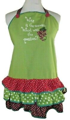"""Kay Dee Designs FULL APRON """"WINE IS THE ANSWER...WHAT WAS THE QUESTION"""" Ruffles"""