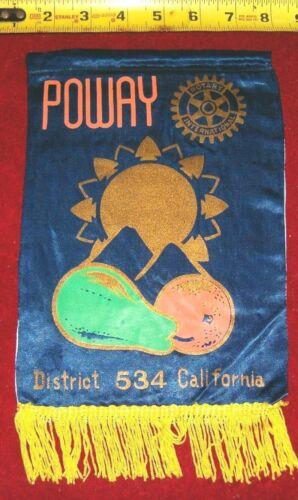 VINTAGE Rotary International Club wall banner flag    POWAY  CALIFORNIA