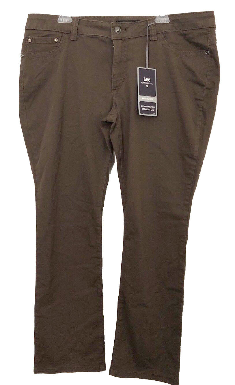 Lee Platinum Womens Size 14 Woodspice Brown Midrise Straight Leg Jeans