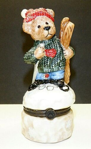 Vintage Christmas Boyds Bearware Pottery Skier Hinged Trinket Box w/baby #1E/301