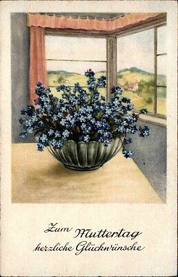 Glückwunsch Gratulation MUTTERTAG ~1920/30 Blumen Bouquet am Fenster alte AK