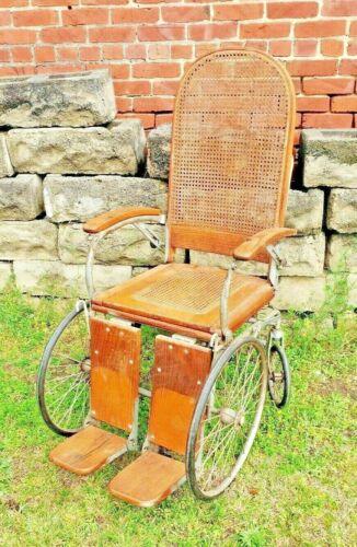 Antique Vintage Arrow 4 wheeled Wood Wicker Wheelchair Erie Penn. Ser No 31096