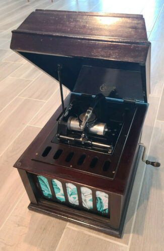 Edison Amberola 50 Mahogany Wind Up Cylinder Phonograph with 62 Cylinders & Case