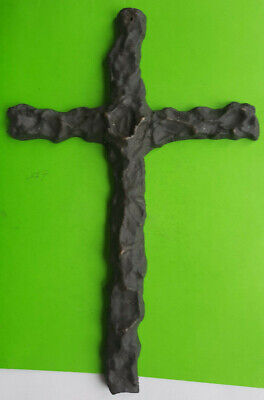 Pair of heavy black painted solid brass Victorian mourning crosses Albert