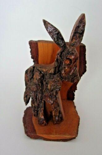 Vtg Silver Dollar City Souvenir Folk Art Walnut Bark Donkey Napkin Letter Holder