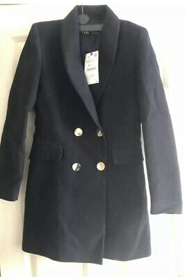 Zara Double Breasted Frock Coat Jacket Blazer Long Navy Blue BNWT XS S M