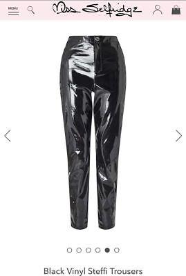 Black Vinyl Pants (Miss Selfridge Black Vinyl Steffi High Waist Pants Trouser 4,6,8,10,12,14)