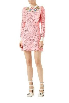 Gucci IT 40 US 4 San Gallo Pink Lace Floral Embroidered Dress Broderie Anglaise