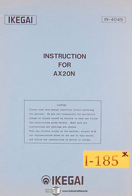 Ikegai Ax20n Lathe Operations Programming And Maintenance Manual
