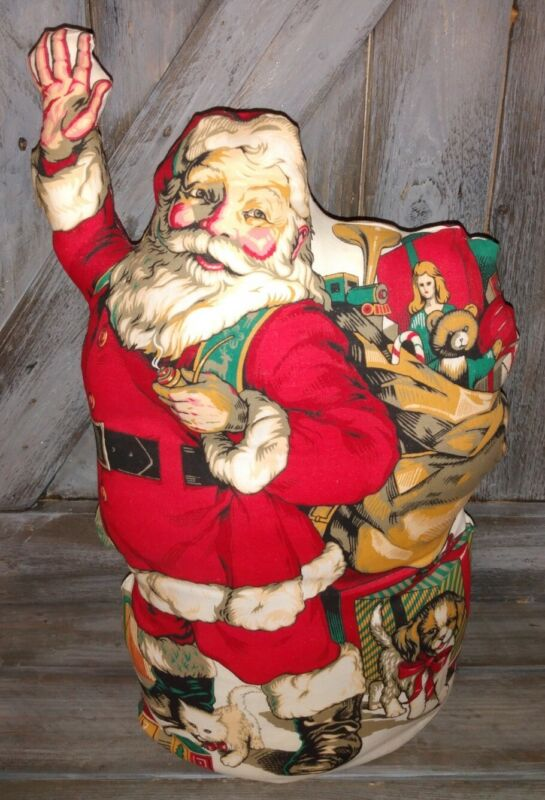 """Vintage Homemade Santa Claus Pillow 17"""" Tall Great Pillows RARE ONE OF KIND"""