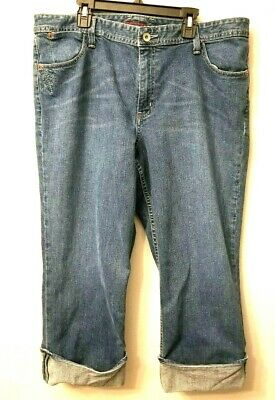 EDDIE BAUER Womens Denim 16R Crop Pants Blue Cuffed Cotton Jeans Capris Crops Cuffed Denim Crop Pants
