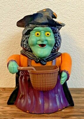 Vintage 1996 GEMMY Bubble Blowing Witch IN BOX Halloween Animated