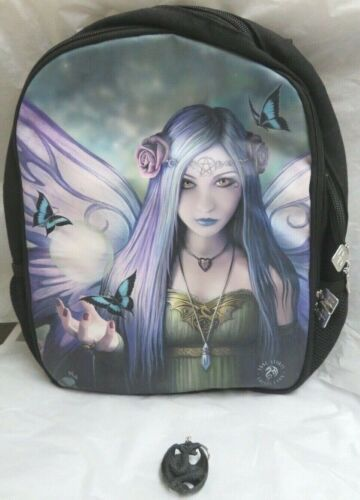 """Anne Stokes Collection """"Mystic Aura"""" Fairy Backpack w/ Dragon Key Chain ACK New"""