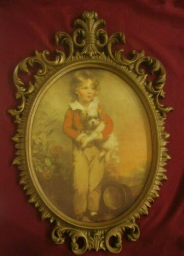 Vintage Homco Home Interiors Large Picture Boy & Dog in Ornate Frame