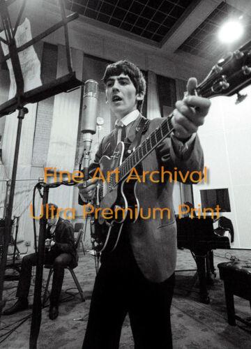 Beatles GEORGE HARRISON in Studio w/ John 1963 ** Hi-Res Archival Photo (8.5x11)