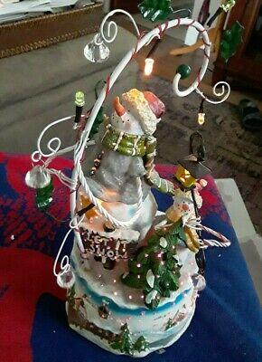 "Vintage NIB 12"" Tall Ceramic Peg Light Up Star Gazing Snowman & Baby 2003"