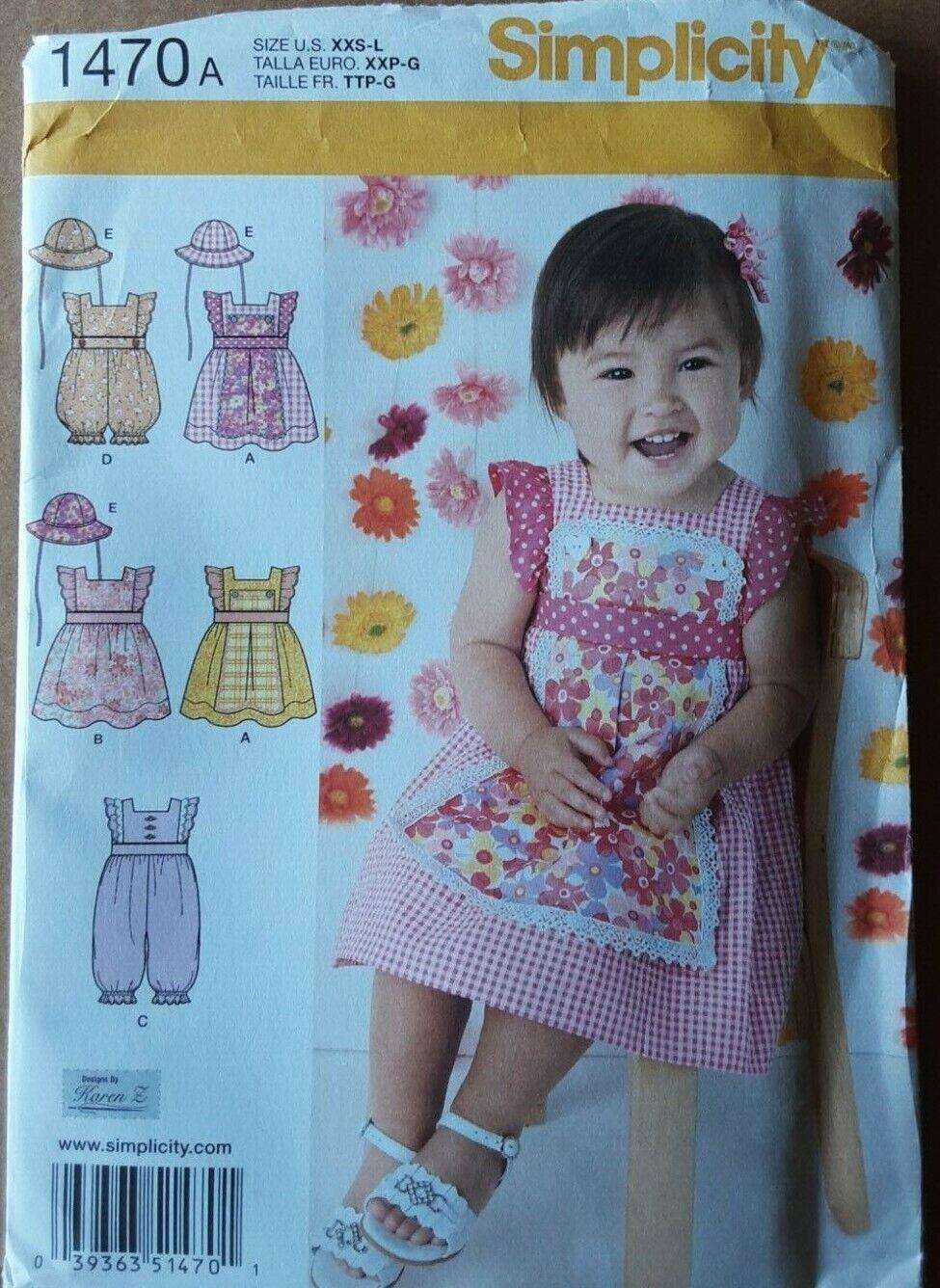 SIMPLICITY 1470A SIZE XXS-L INFANTS DRESS-ROMPER IN 2 LENGTHS - $6.99