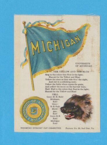 c1910 S23 tobacco silk UNIVERSITY of MICHIGAN MASCOT college cheer silk