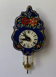 Vintage Wooden Black Forest Style Wall Clock Pendulum Battery Engstler Germany