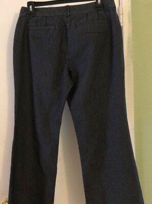 Ann Taylor Loft Julie Anzughose Größe 8 Schwarz-Grau Gestreift Businesskleid ()