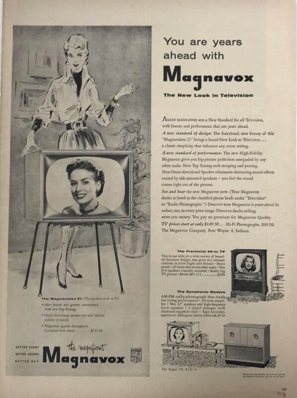Magnavox TV Television Magazine Print Ad Vintage 1954 Home Woman Electronics
