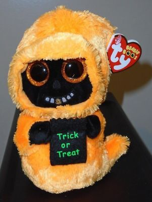 5d8eaea0c23 Ty Beanie Boos - GRINNER the Orange Halloween Ghoul (6 Inch) NEW MWMT
