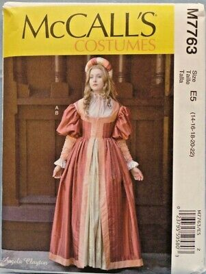 MCCALLS PATTERN 7763 RENAISSANCE TUDOR COSTUME MISS SIZES 14 16 18 20 22 UNCUT - $8.75