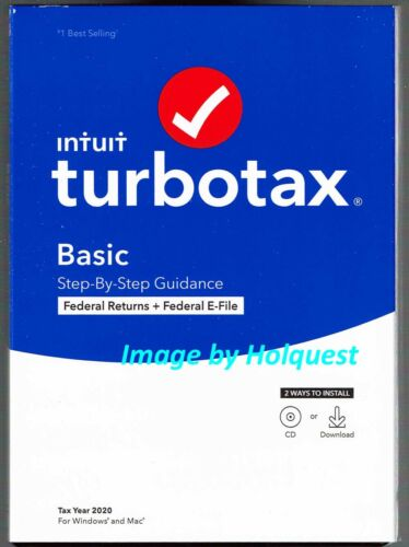 TurboTax 2020 Basic Federal Only E-File w/ CD, 1 User, for PC & Mac