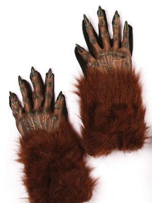 Halloween Werewolf Gloves (Werewolf Gloves - Brown Wolf Evil Fur Halloween Adult 16