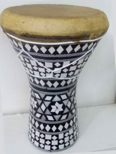 "8.5"" Tall Mosaic Inlaid Wood Doumbek Darbuka Drum with Goatskin Leather Head"
