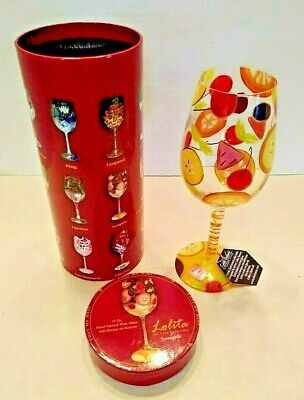 Lolita NEW Sangria Hand Painted Wine Glass fruit party gift drink collectible