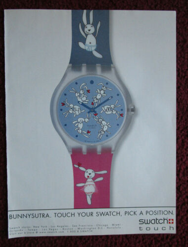 2004 Print Ad SWATCH Watch Watches ~ The Bunnysutra Bunny Love Pick a Position