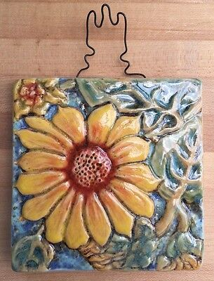 "4""x4"" Sunflower handmade tile beautiful"