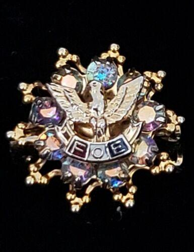 Vintage Fraternal Order of Eagle Aurora Borealis Ladies Brooch Pin Lapel Vtg