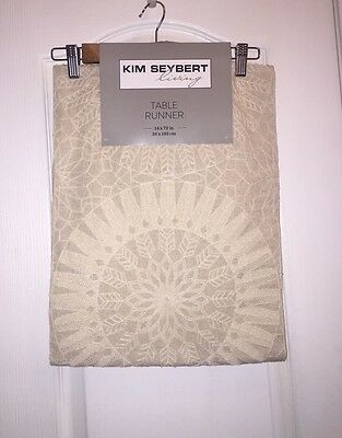 """NWT KIM SEYBERT Neiman Marcus Embroidered Ivory Boho LINEN TABLE RUNNER 14x72"""""""