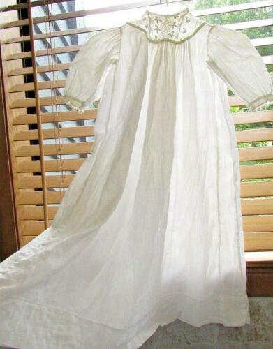 Antique Victorian  Vtg Embroidered LACE Baptism CHRISTENING Gown dress 4 6 month