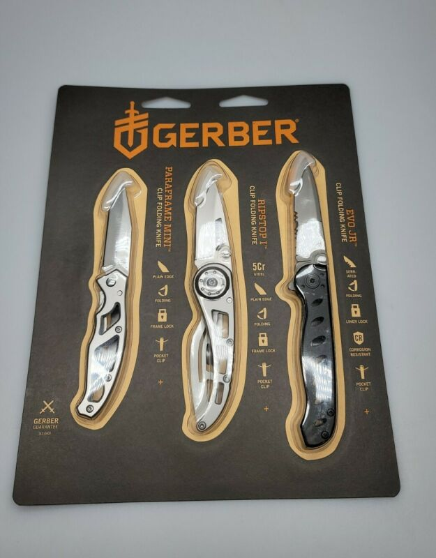 GERBER GREATEST HIT 3PC FOLDING KNIFE SET PARAFRAME MINI, RIPSTOP I & EVO JR NIP
