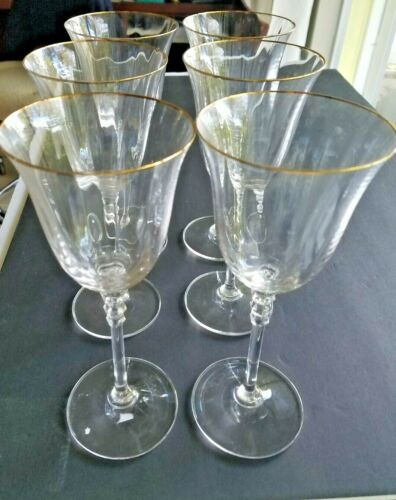 "6 Mikasa Crystal SONATA GOLD  8 1/4"" Tall WATER WINE GOBLET  GLASSES"