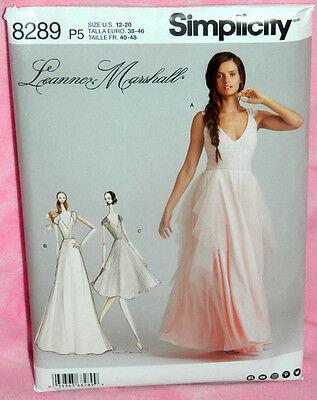 Uncut Simplicity Leanne Marshall Sz 12-20 Formal Bride Dress Gown Pattern 8289