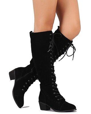 Black suede Lace up Knee high Boots Low Heels Riding Women's Shoes Cortez
