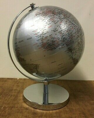 27cm Silver World Globe Vintage Rotating Atlas Office Desk Ornament Home Decor
