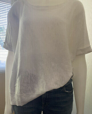 Eileen Fisher White Organic Linen Cotton Knit High Low Loose Boxy Top M L