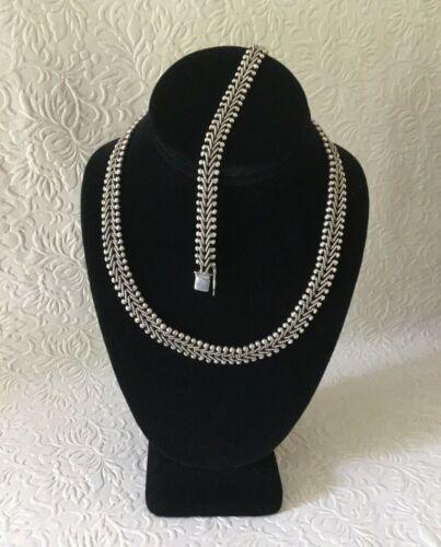 Vintage 925 Sterling Silver Rope & Bead Necklace & Bracelet Set Centipede Crawl